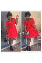 skater dress Ally dress - thrifted purse - masai inspired diva necklace