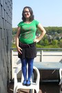 Green-duesenberg-shirt-blue-tights-black-h-m-skirt-bubble-gum-belt-black