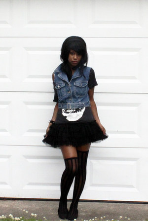 black tulle skirt shirt - black Misfits Fiend Shirt shirt - tights
