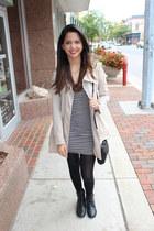 black combat boots Charlotte Russe boots - black striped H&M dress