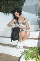 black sfara bag - blue Topshop shorts - white Converse shoes - Top Shop vest - f