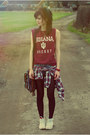 Ruby-red-vintage-shirt-blue-diy-denim-shorts-white-converse-sneakers