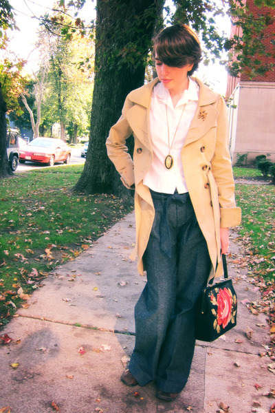 white vintage blouse - blue Habitual jeans - Priorities jacket - vintage purse
