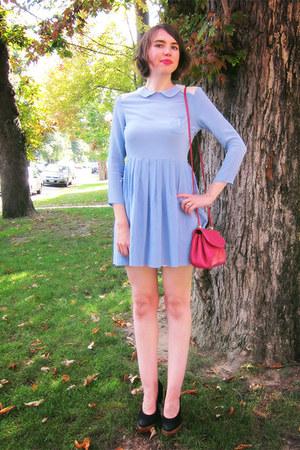 sky blue silk tba dress - hot pink vintage bag