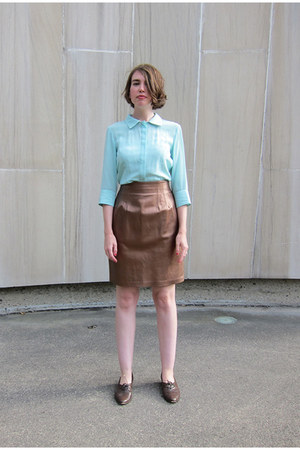 bronze vintage skirt - sky blue silk Lorick blouse - brown oxfords vintage flats