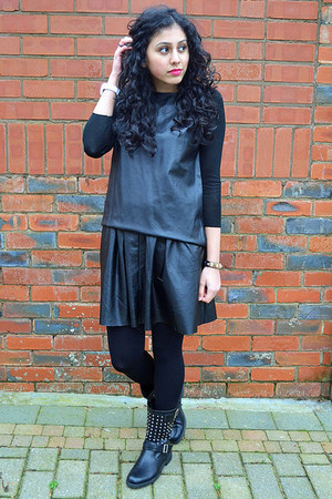 charcoal gray leather top Zara top - heather gray Koi Couture boots