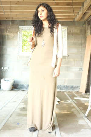 dark khaki Topshop dress - light brown Topshop bag - beige H&M cardigan