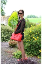 black Zara sweater - carrot orange selma satchel Michael Kors purse