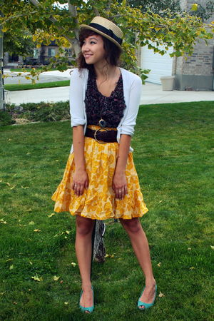 yellow Forever21 skirt - brown Target belt - blue modcloth necklace - blue payle