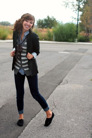 blue modcloth shirt - gray papaya vest - black Target blazer - blue Forever 21 j