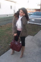 tan suede Vince Camuto boots - army green parka Miss Sixty coat