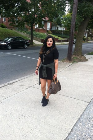 black Diba boots - black Charlotte Russe dress - army green Target shirt