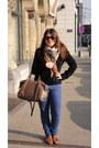 Blue-skinny-bimba-lola-jeans-black-sandro-blazer-bronze-silk-y-vintage-sca
