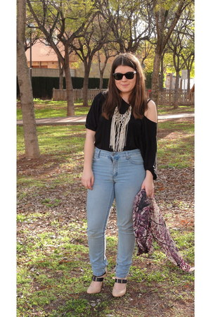 sky blue skinny Cheap Monday jeans - pink silk Adolfo Domnguez U scarf - black c