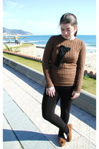 burnt orange Vintage Josep Font jacket - brown Uterqe sweater - black Topshop le