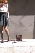 vintage shoes - white silk top banana republic shirt - black vintage shorts
