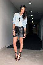hello parry skirt - cotton on shirt - ray-ban sunglasses - Windsor Smith heels