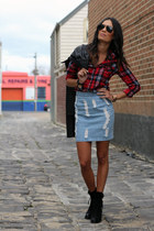 hello parry skirt - tony bianco boots - wish jacket - ray-ban sunglasses