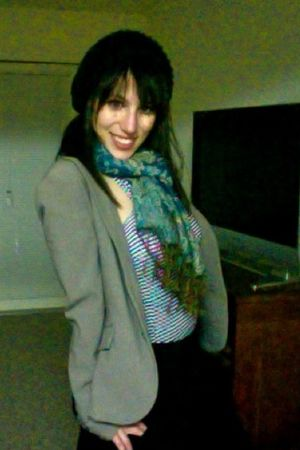 gray New York & Co blazer - black hat - black skirt - blue Urban Outfitters shir