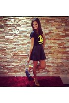 black Chanel bag - yellow Zara heels - black leather look H&M skirt