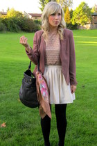 nude American Apparel blouse - pink Gap blazer - eggshell modcloth skirt
