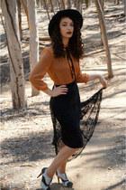 black Forever 21 skirt - carrot orange Forever 21 blouse
