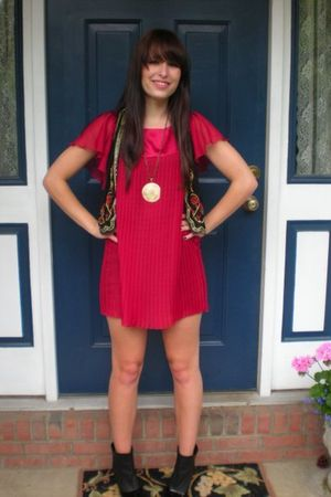 red Forever 21 dress - black Urban Outfitters vest - black Rampage shoes