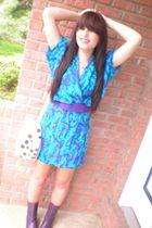 purple hand-me-down belt - thrifted dress - hand-me-down purse - purple thirfted