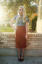 blue Fred Perry shirt - orange vintage skirt - red vintage shoes
