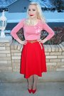 Pink-vintage-blouse-red-vintage-skirt-beige-tights-red-vintage-shoes