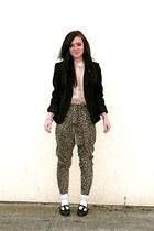 vintage shoes - Express blazer - Claires socks - vintage blouse - Forever 21 pan