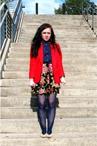 red vintage blazer - navy Macys tights - navy thrifted top - pink Target skirt