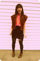 thrifted shirt - Charlotte Russe shoes - thrifted skirt - vintage vest