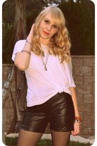 leather vintage shorts - H&M top