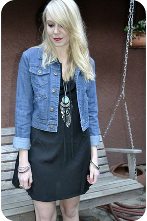 black Tucker dress - denim Forever 21 jacket - H&M necklace