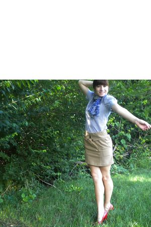 blue Urban Outfitters shirt - beige Urban Outfitters skirt - blue Vintage Diane