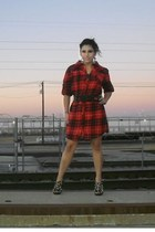 studded Jeffrey Campbell shoes - plaid Urban Outfitters dress - vintage belt