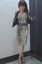 Zara dress - Zara belt - diva necklace - random brand vest - random brand shoes