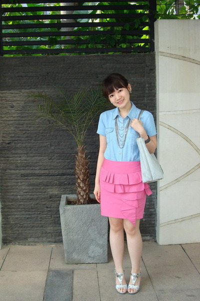 blue denim random brand shirt - silver statement heels GoJane shoes