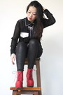 Black-glittery-leggings-red-statement-jeffrey-campbell-boots