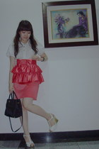 random brand shirt - River Island skirt - Charles & Keith shoes - Prada purse