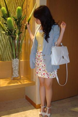 Zara blazer - random brand top - Zara skirt - random brand necklace - random bra