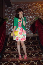 green pocket random brand blazer - pink wedge GoJane shoes