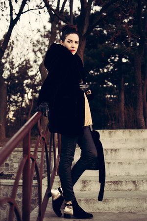 black Lovely shoes boots - black JollyChic coat - yellow JollyChic sweater