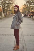 heather gray Kiabi coat - Tally Weijl boots - ruby red Camaïeu hat