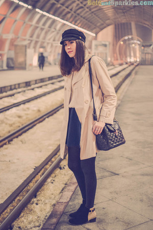 black Lovely shoes boots - cream Orsay coat - black Choies hat