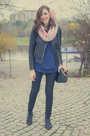 black moa boots - black PERSUNMALL jacket - navy MiniTake shirt