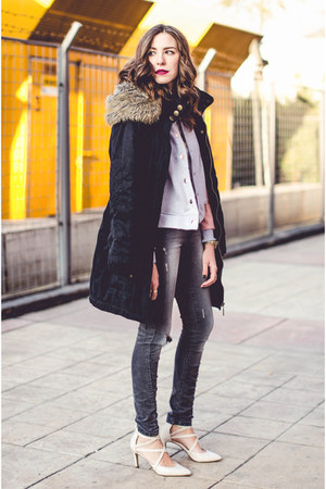 bubble gum blackfive jacket - black Takko jacket - eggshell Deichmann heels