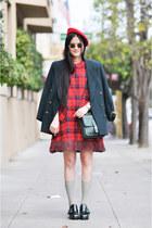 vintage dress - coach bag - Miu Miu loafers