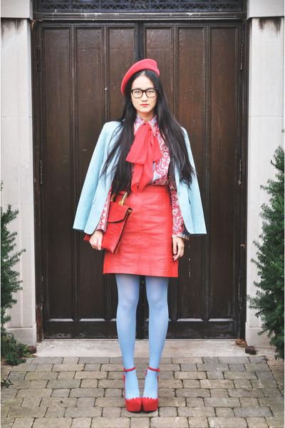 vintage blazer - vintage bag - vintage skirt - vintage blouse